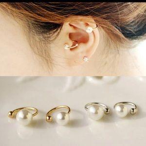 Gold or Silver Pearl Ear Cuff